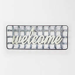 Bee & Willow™ Home Welcome Basket 11-Inch x 27-Inch Metal Wall Art