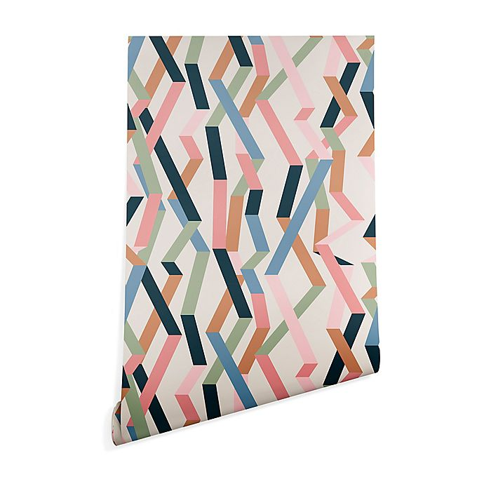 Alternate image 1 for Deny Designs Mareike Boehmer Straight Geometry Beige 2-Foot x 8-Foot Wallpaper in Black