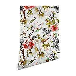 Deny Designs Marta Barragan Camarasa Skulls Blooming Wallpaper in Red/Green