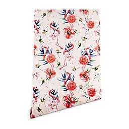 Deny Designs Marta Barragan Camarasa Flowery Flamingo Peel & Stick Wallpaper in Pink