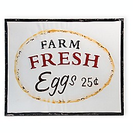 Boston International Farm Fresh Eggs Metal Sign