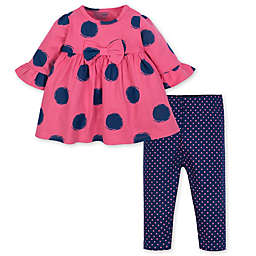 Gerber® 2-Piece Spots Dress and Legging Set in Pink/Blue