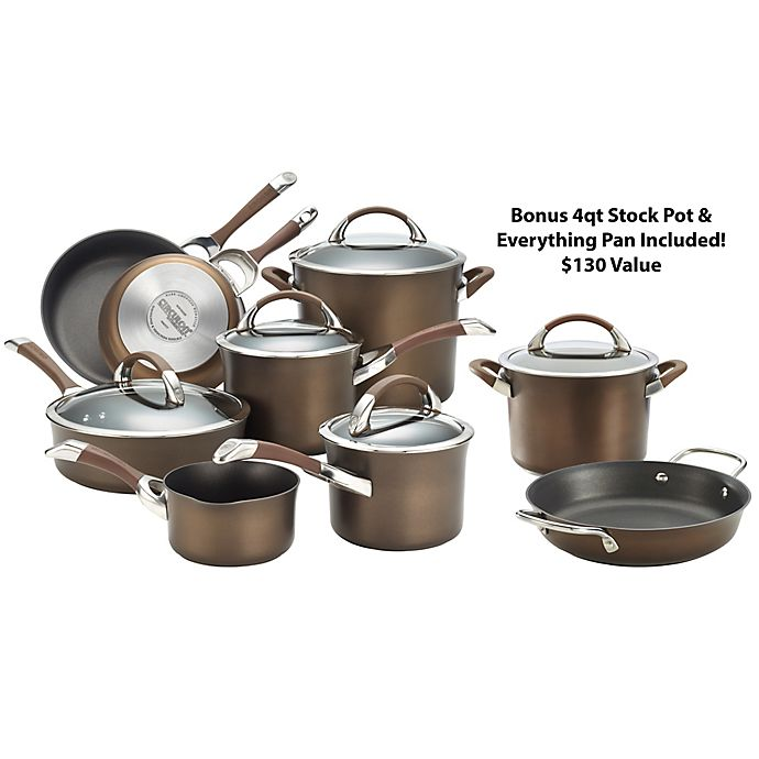 Alternate image 1 for Circulon® Symmetry™ Nonstick Hard-Anodized 11-Piece Cookware Set in Chocolate