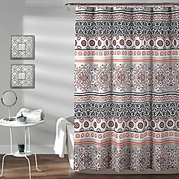 Nesco Stripe Shower Curtain in Navy/Coral