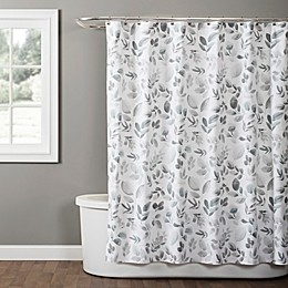Windsor Leaves Fabric Shower Curtain in Grey