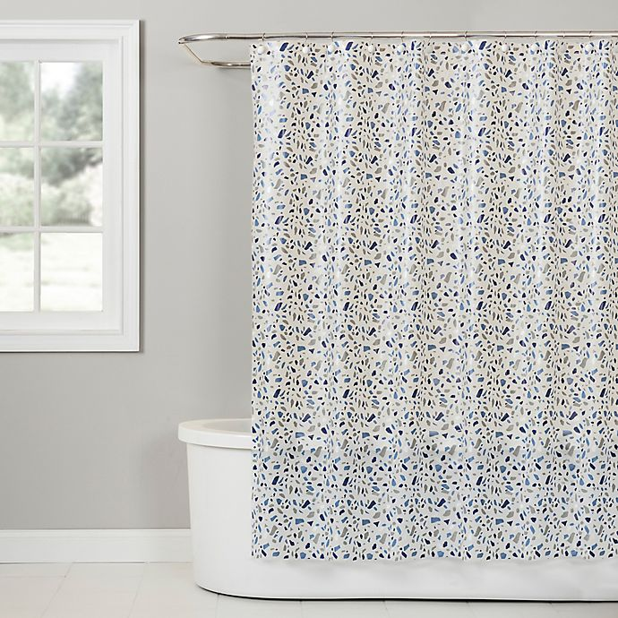 Terrazzo Peva Shower Curtain In Blue