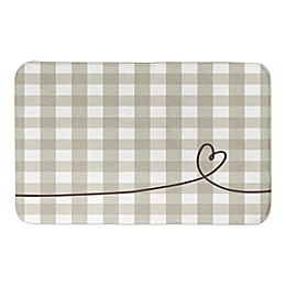 Designs Direct Plaid Heart 34-Inch x 21-Inch Bath Rug in Grey