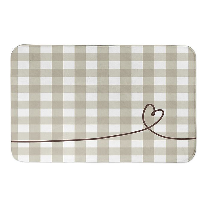 Alternate image 1 for Designs Direct Plaid Heart 34-Inch x 21-Inch Bath Rug in Grey