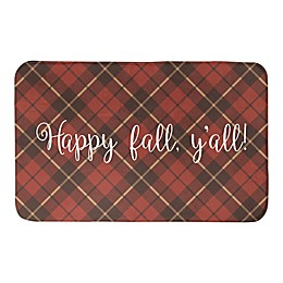 Designs Direct Happy Fall Plaid 34-Inch x 21-Inch Bath Rug in Red