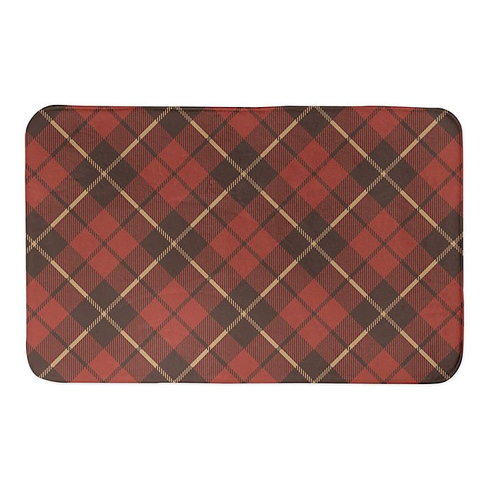 Alternate image 1 for Designs Direct Fall Plaid 34-Inch x 21-Inch Bath Rug in Red