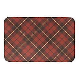 Designs Direct Fall Plaid 34-Inch x 21-Inch Bath Rug in Red