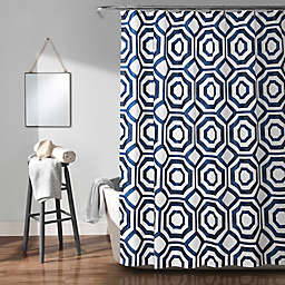 Octagon Blocks Shower Curtain in Navy