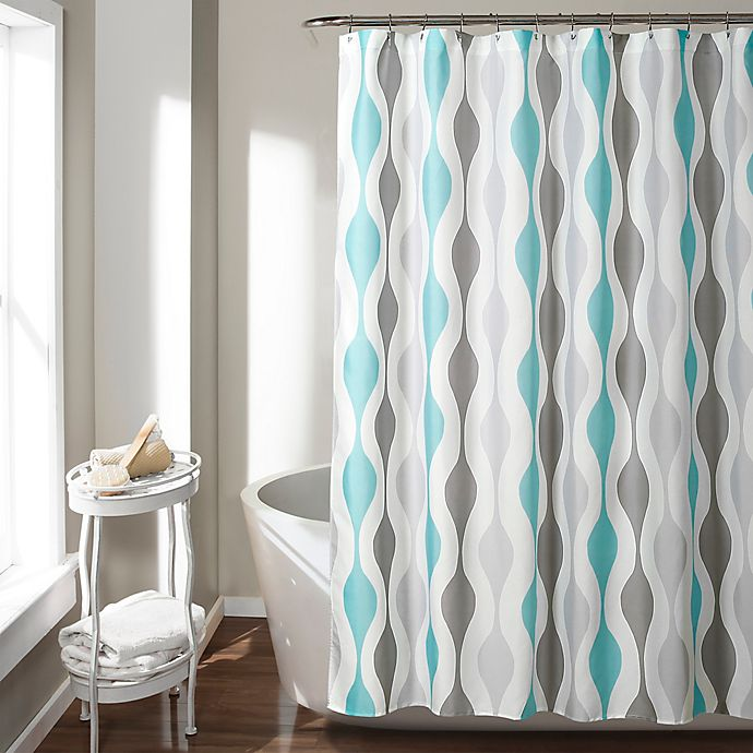 Alternate image 1 for Mid-Century Geometric Shower Curtain in Blue