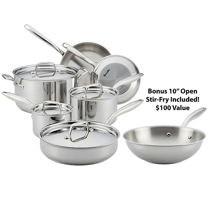 Alternate image 1 for Breville® Thermal Pro™ Clad Stainless Steel 10-Piece Cookware Set