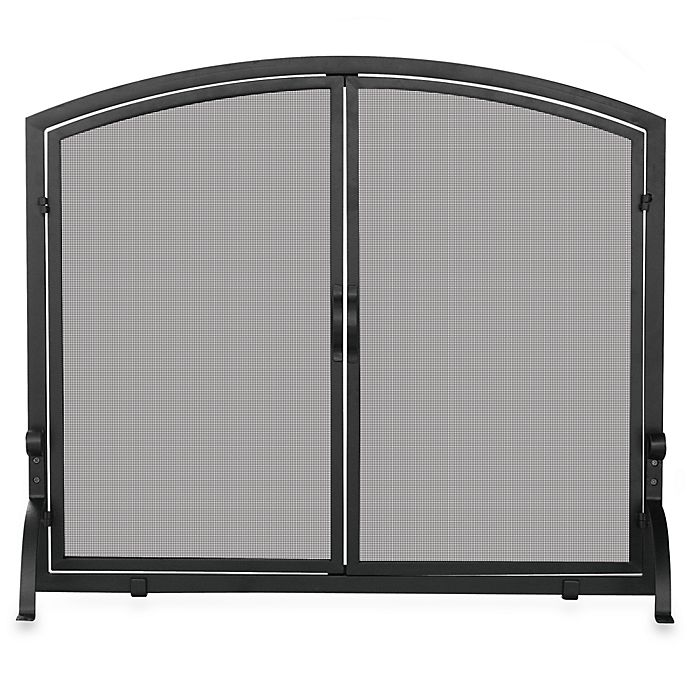 Alternate image 1 for UniFlame® S-1062 Single Panel Black Wrought Iron Screen with Doors in Medium