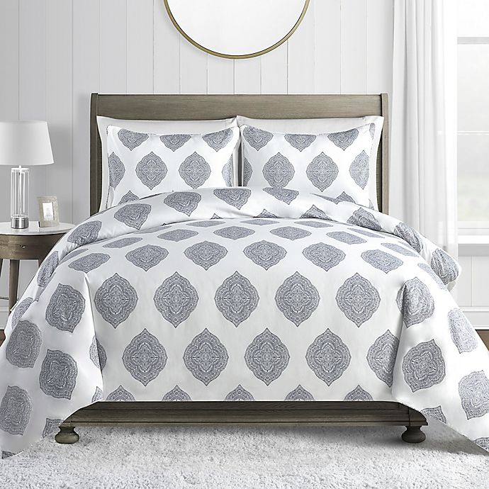 Alternate image 1 for Printed 450-Thread-Count Cotton Sateen 3-Piece Duvet Cover Set