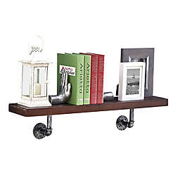 Danya B.™ 36-Inch x 7-Inch Floating Pipe Industrial Wall Shelf in Umber Mocha