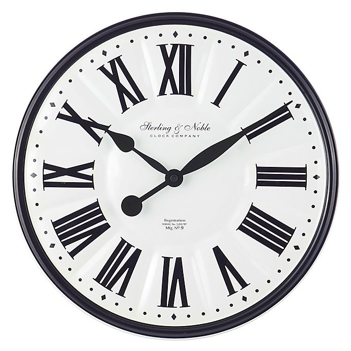Sterling Noble Enameled 15 5 Inch Wall Clock In Black Bed Bath Beyond