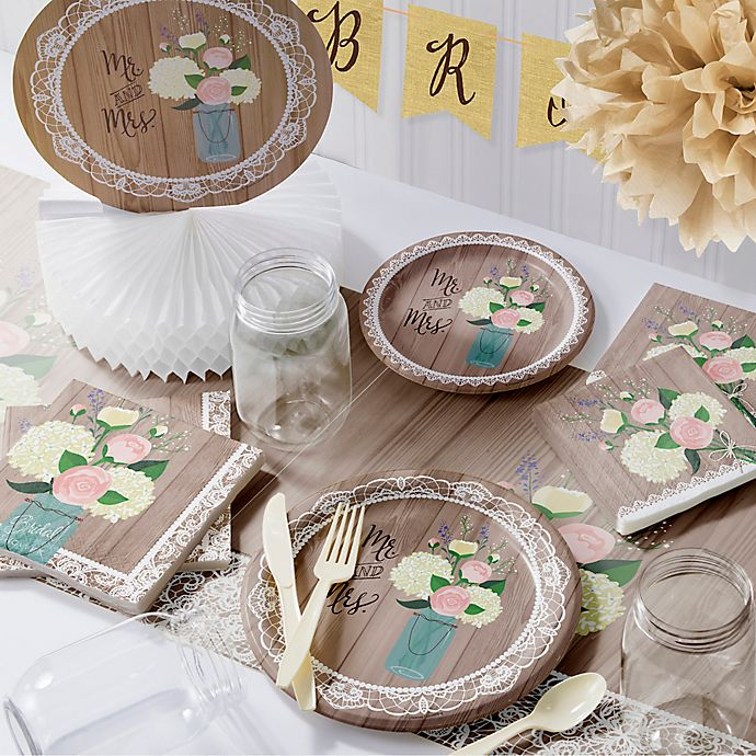Alternate image 1 for Creative Converting 245-Piece Rustic Wedding Bridal Shower Party Kit