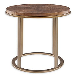 INK+IVY Stephan Wood and Metal End Table in Walnut/Antique Gold