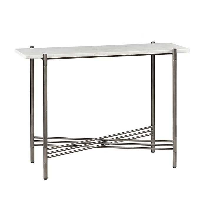 Astounding Madison Park Signature Rowen White Marble Console Table In Dark Pewter Ncnpc Chair Design For Home Ncnpcorg