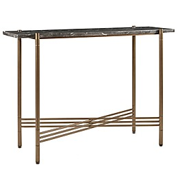 Madison Park Signature Rowen Black Marble Console Table in Bronze