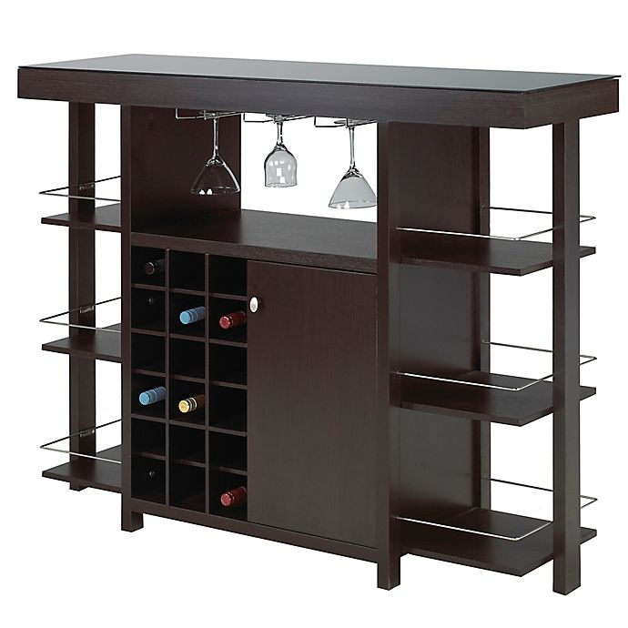 Alternate image 1 for Brassex Inc Bar with Smoked Glass Top in Espresso
