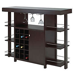 Brassex Inc Bar with Smoked Glass Top in Espresso