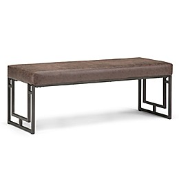 Simpli Home Faux Leather Upholstered Trey Bench