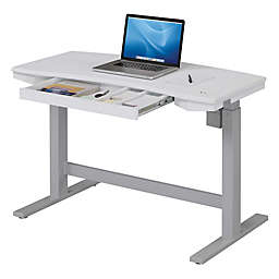 Twin Star Home Electric Adjule Height Desk With Charging Station In Brushed White