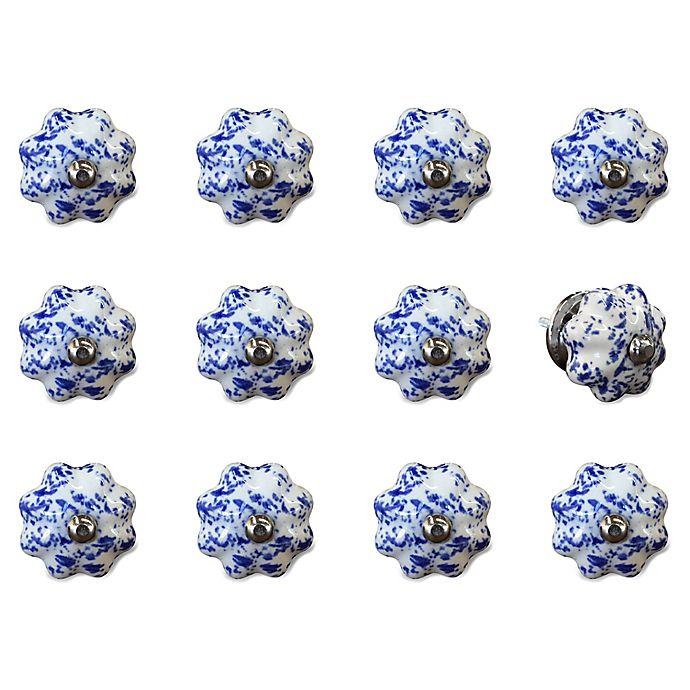 Alternate image 1 for Taj Hotel 12-Pack Ceramic Vintage Knobs in Blue/White