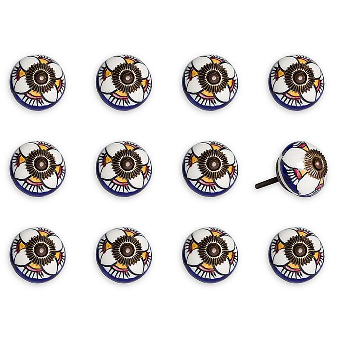 Alternate image 1 for Taj Hotel 12-Pack Ceramic Vintage Knobs in Orange/White