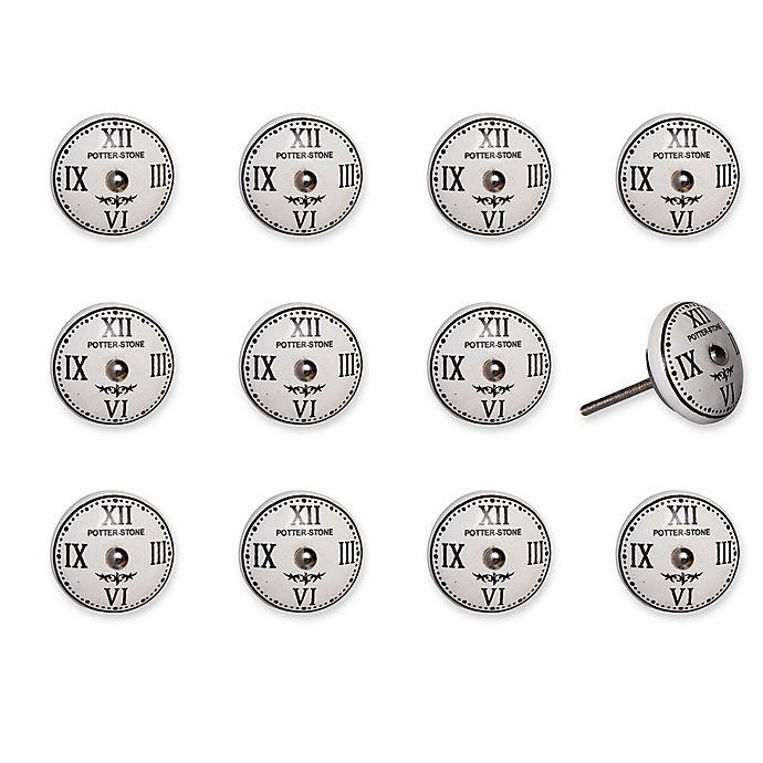 Alternate image 1 for Taj Hotel Hand-Painted Ceramic 12-Piece Clock Knob Set in White/Black