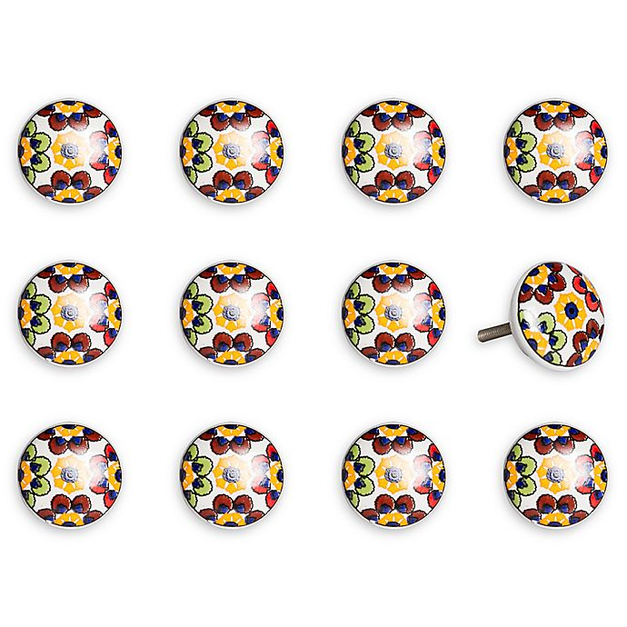 Alternate image 1 for Taj Hotel Hand-Painted Ceramic 12-Piece Floral Knob Set in Yellow/Blue