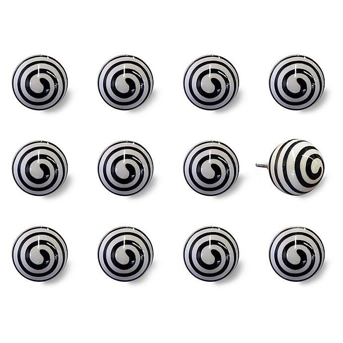 Alternate image 1 for Knob-It Taj Hotel 12-Pack Swirl Vintage Hand-Painted Ceramic Knob Set in White/Black