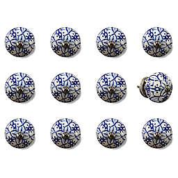Knob-It Taj Hotel 12-Pack Vintage Hand-Painted Ceramic Knob Set in White/Blue