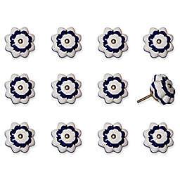 Taj Hotel 12-Piece Hand Painted Round Knob Set in White/Blue