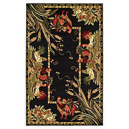 Country Farm Area Rug in Black