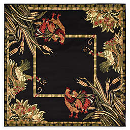 Country Farm 6' x 6' Area Rug in Black