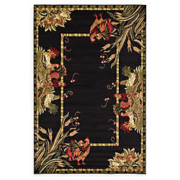 Country Farm 6' x 9' Area Rug in Black