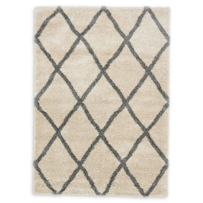 Alternate image 1 for Luxe Trellis 7' x 10' Shag Area Rug in Beige