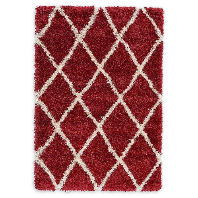 Alternate image 1 for Unique Loom Luxe Trellis Shag 4' x 6' Area Rug in Burgundy