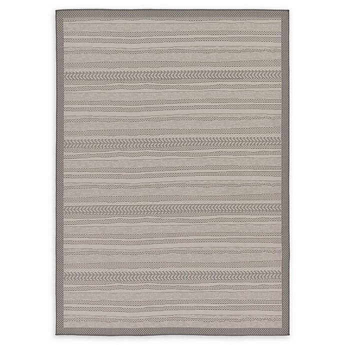Alternate image 1 for Unique Loom Lines Outdoor 7' X 10' Powerloomed Area Rug in Gray
