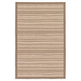 Unique Loom Lines Indoor/Outdoor Rug in Beige