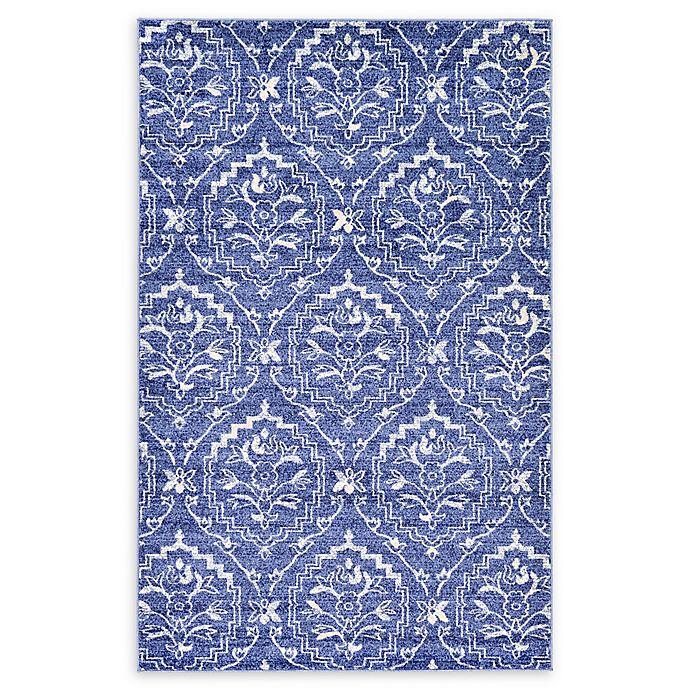 Alternate image 1 for Unique Loom Lovely Damask Rug in Blue