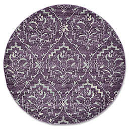 Unique Loom Lively Damask 6' Round Powerloomed Area Rug in Purple