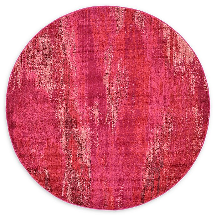 Alternate image 1 for Unique Loom Lilly Barcelona 6' Round Powerloomed Area Rug in Pink