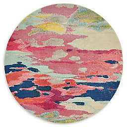 Unique Loom Laurnell Barcelona 6' Round Powerloomed Area Rug in Pink