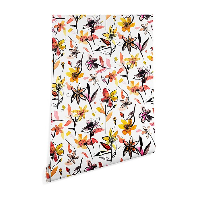 Alternate image 1 for Deny Designs Ninola Yellow Ink Flowers 2-Foot x 8-Foot Wallpaper in White