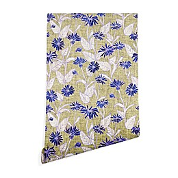Deny Designs Schatzi Brown Justina Floral Peel and Stick Wallpaper in Tan